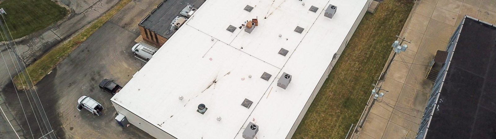Aerial view of Single-Ply Membrane Roofing Project in Cranberry Township, PA for Camp Bow WOW
