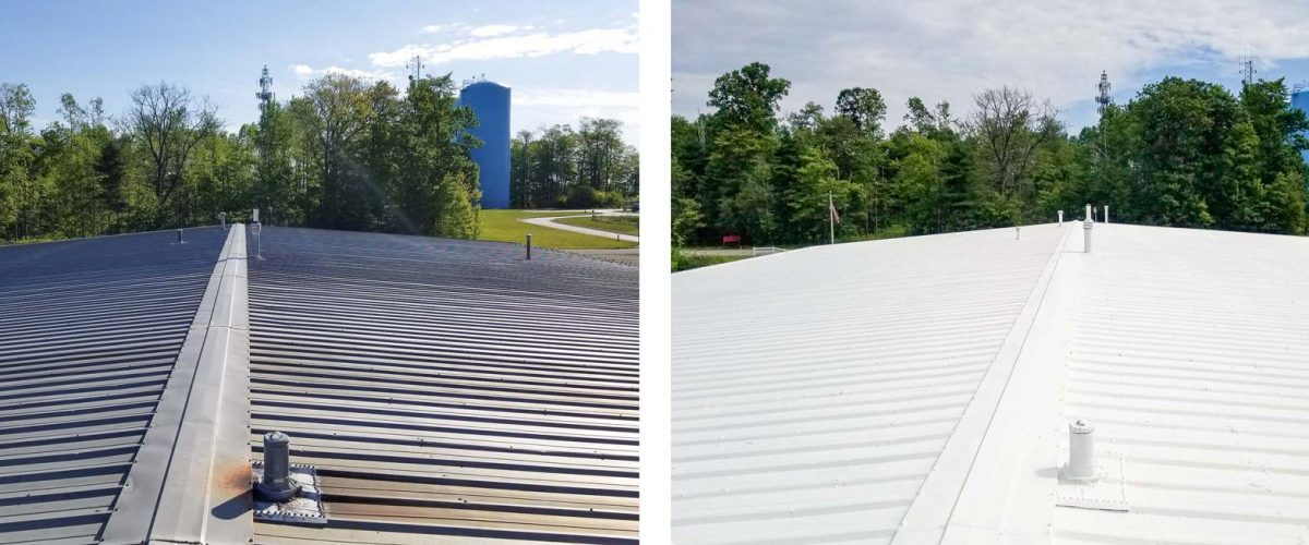 Before / After of metal roof restoration