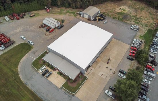 Aerial view of Metal Restoration Roofing Project in Johnstown, PA for GAP Pollution and Environmental Control